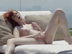 Red pleasing summer pussy rubbing
