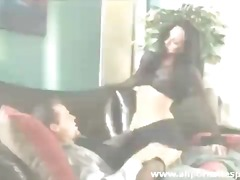 Sultry babe with jet black hair gives sensual blowjob