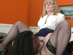 nina hartley,  black, cock, handjob