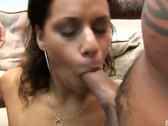 brunette, hardcore, big-tits, tanned, blowjob, interracial, tan-lines, gangbang, big-boobs, oral, cock-riding, black