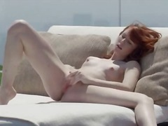 Red charming summer pussy rubbing