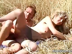 Outdoors fucking by horny old slut
