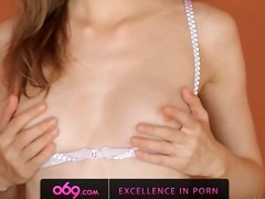 Small titted angular girl rubbing clig