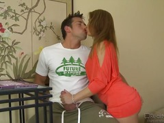 Lusty milf Cameron Paige spies on