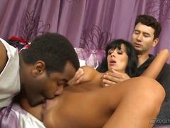 ass, blowjob, ebony, group, lick