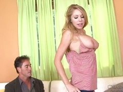 Blonde temptress with giant boobs sucks