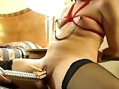 Lesbo slut bounded and fucked with a ...