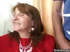 Old bitch takes two cocks