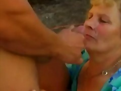 Hairy granny with big boobs fucked on...