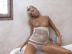 masturbation, busty, shower, blonde,
