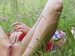 pussy, fingering, outdoor, nature