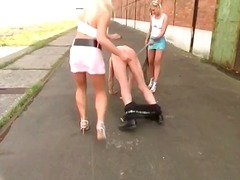 Two sexy blonde suck on big cock part6
