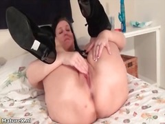 masturbation, wife, granny, older, solo, mature, stocking, dildo, amateur