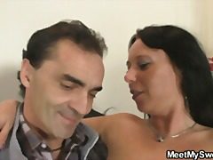 His chick jumps on his father's cock