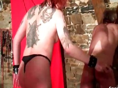 Sexy tattooed slut on a leash spanks ...