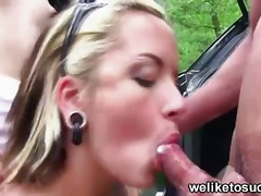Public threesome blowjob video