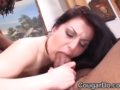 cougar, mature, swallowing, cumshot,