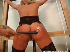 tattoo, blonde, spanking, fetish, bondage