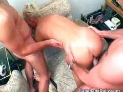 Short haired blonde MILF is caught part2