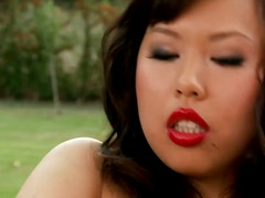 Blackhaired Asian beauty tiger Benson stars