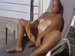 61 years Granny cumming outdoor on Te...