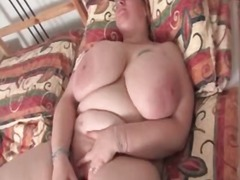 masturbation, toy, older, mature, tit, solo, bbw, amateur, dildo, wife, stocking