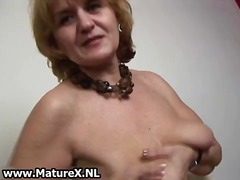 Horny old housewife enjoys squeezing part2