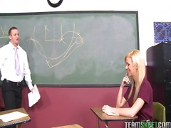 Busty blonde coed kaley hilton has bush banged by her teacher in the classroom