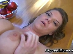 Pretty knockers mother plays with coo...