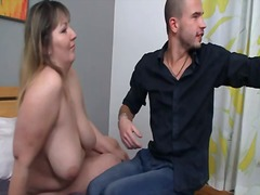 Chunky slut is picked up and crotch shaged