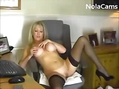 masturbation, stockings, milf, blonde, amateur, dildo, webcam