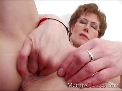 mature, fingering, granny, wife,