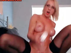 milf, tits, amateur, pussy, babe, wet, webcam, stockings, mom, blonde
