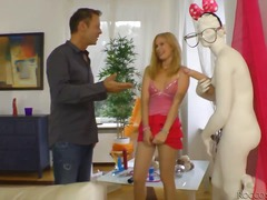 blonde, college, gangbang, mom