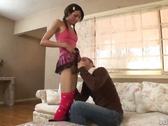 Tempting skinny brunette tranny uniqu...