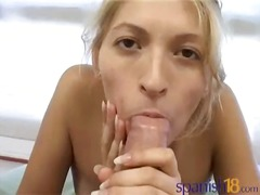A great orall-service and facial cumshot blonde babe