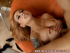 Pierced and tattooed scarlet sucking and r...