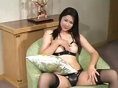 ladyboy, solo, brunette, masturbation, hardcore, panties, lingerie, stockings