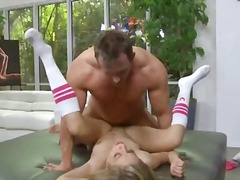 Tiny blonde with small tits gets her