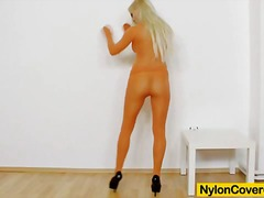 masturbation, tight, blonde, pantyhose, nylons, sex toy, fetish, face, nylon, toys, toy