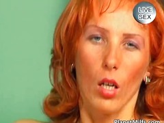Old red haired slut rides dick at the...