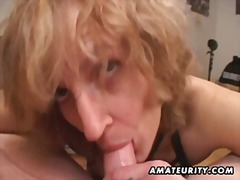 Mature amateur wife gives head with c...
