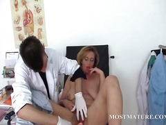 Hairy mature pussy vibed at the doctor