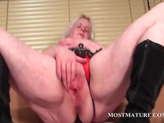 masturbation, blonde, milf, mature, older, hardcore, granny
