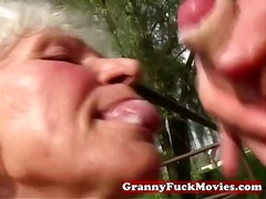 hardcore, blonde, outdoor, mature, outdoors, granny, blowjob
