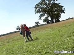 Outdoors fucking by horny old slut part2