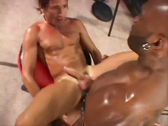 White stud hardly takes that black monster inside