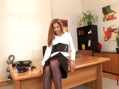 europeans, office, stockings, solo