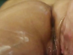 Thumb: Close up of a wet lesb...