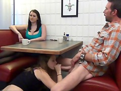 Daughter gives footjob and bj to not ...